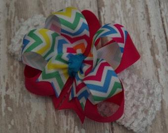 Boutique Bright Chevron Infant/Toddler Headband Hair Bow