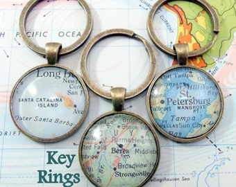 Custom Map Key Rings