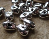 5 Solid Sterling Silver Nugget Beads - Organic - 8mm X 6mm