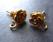 Rose Earring Posts - 24K gold plated over sterling silver - findings - one pair - oxidized and polished