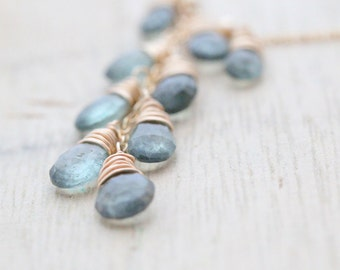 Moss Aquamarine Necklace In 14K Gold Fill - Wire Wrapped, Cascade, March Birthstone - Waterfall