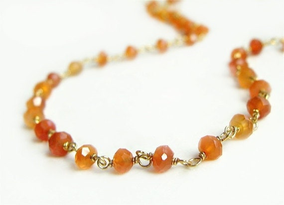 Arista Necklace with Rich Orange Carnelian Wire Wrapped Gold Summer Fashion Gold Layering