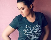 """Jane Austen Quote - Pride and Prejudice - """"In vain have I struggled"""" Mr. Darcy Quote - Women's Fitted Tee in Heather Black. MADE TO ORDER"""