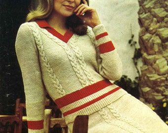 Vintage Ladies Sweater/Jumper Suit (Sweater/Jumper and Skirt) Knitting Pattern, 1960/1970 (PDF) Pattern, Patons 1011