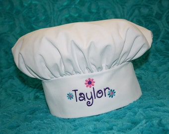 Youth and Adult--Custom Embroidered Chef Hat with Daisies- Available in white and pink
