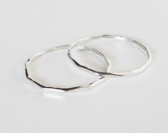 Stackable sterling silver rings, two stacking rings,stackable rings, gift idea,knuckle rings