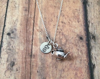 Teapot initial necklace - tea jewelry, kettle necklace, tea necklace, silver teapot necklace, high tea necklace, British necklace
