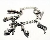 Shoe Charm Bracelet, Silver Curb Link Bracelet with 5 Shoe Charms, Vintage Charm Bracelet