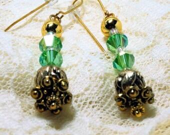 SALE 50% Peridot Green Crystal Earrings, Dangle Crystal and Floral Gold Bead Earrings, Ladies Handmade Jewelry