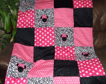 Custom Minnie Quilt HOT PINK n Minky Personalized Rag Quilt or Traditional From Baby Toddler to Teen ** Made To Order **