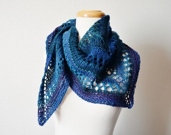 handspun handknit triangle scarf - lace scarf, women's fall fashion, lace triangle, geometric, boho, hippie, blue and purple scarf, winter
