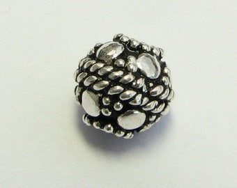 8mm Small Dots and Mirror Dots Round 925 Bali Sterling Silver Beads  (2 beads)