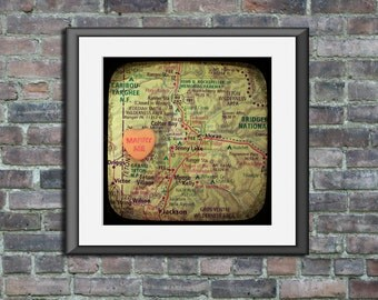 Map art print marry me Grand Teton National Park Wyoming candy heart custom engagement personalized wedding anniversary gift wall decor