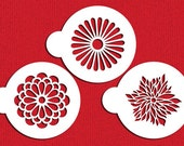 Modern Flower Cookie Stencil Set for Cookies & Cupcakes - Designer Stencils (C559) face painting