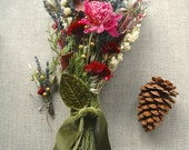Winter Wedding Cedar Forest Lavender Farm Natural Brides Wedding Bouquet and Grooms Boutonniere