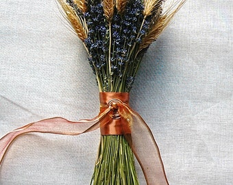 Bridemaid Bouquet of Copper, Lavender and Golden Wheat
