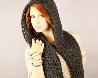The KISS open end fringe long cowl hood scarf wool charcoal black