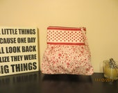 Red & White Floral Clutch Purse