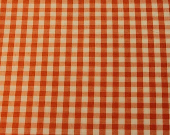 Orange Gingham Fabric - 1 Yard
