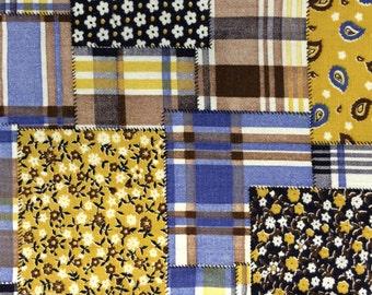 Faux Patchwork Print Vintage 1970s Cotton - 1 3/8 Yards - Fabric Yardage / Woven Fabric / Cotton Fabric / 1970s Fabric / 1970s Cotton / 70s