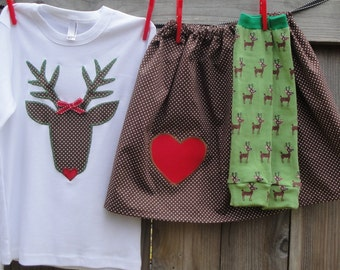 REINDEER GAMES - 3pc appliqued shirt, skirt and Leg warmer set for babies, toddlers, children - Festive fun to celebrate the holiday season