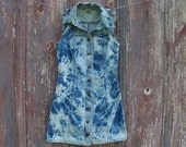 Bleach Tie Dyed Sleeveless Denim Mini Dress in Misses Size 5/6