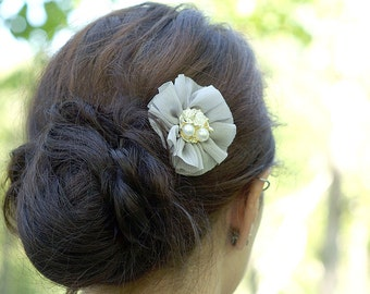 Ruffled Chiffon Flower Hair Clip - Grey with Vintage Style Center