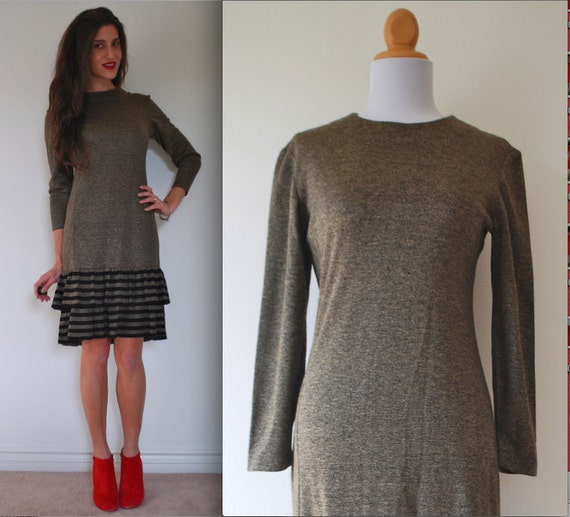SALE SECTION / 50% off Vintage 70s 80s Tiered Striped Sweater Dress (size medium)