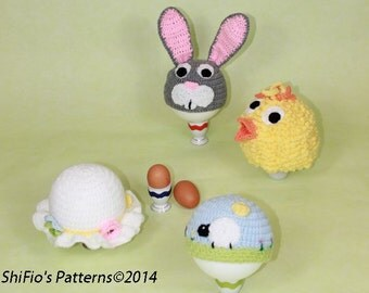 CROCHET PATTERN For Baby Spring Easter Hats in 5 Sizes chick, bunny, easter bonnet, sheep PDF 276 Digital Download