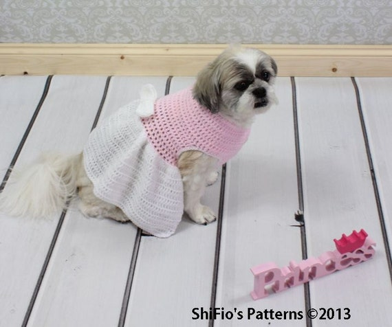 Xl Dog Sweater Knitting Pattern : Crochet pattern for dog sweater dress in sizes pdf by
