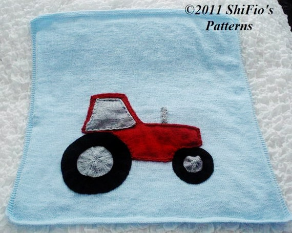 KNITTING PATTERN For Baby Tractor Applique Afghan Blanket  PDF 189 Digital Download