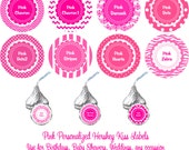 348 Personalized Pink Hershey Kiss Labels Chevron, Damask, Dots, Stripe, Hearts, Zebra