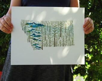 Montana state tree print 11x14