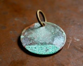 Verdigris Aged Rustic Brass Disc Circle Pendant Valentines Day Seven Jewelry