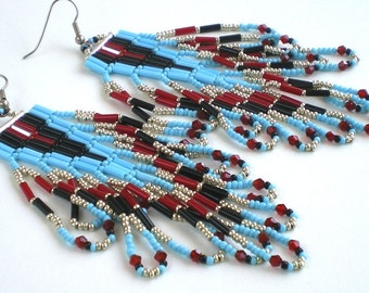 Native American Inspired Bugle Bead Earrings, looped fringe, turquoise, red, black, silver, triangle, pattern, brick stitch