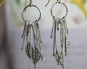 Leaves and branches earrings, oxidized sterling silver, long dangles, nature lover, free spirit