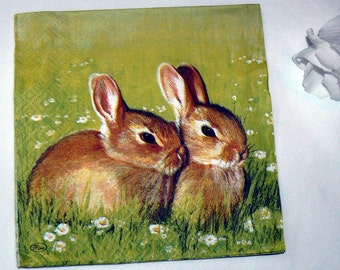 2  images Napkins from Holland bunnies