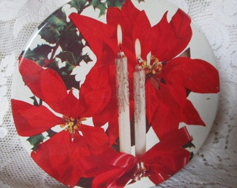 Vintage Red And White Christmas Cookie Tin