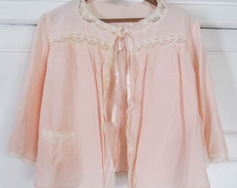 Vintage 1940's-50's Lacy Pale Pink Handmade Bed Jacket