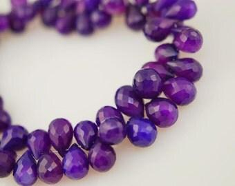 Purple chalcedony tear drops