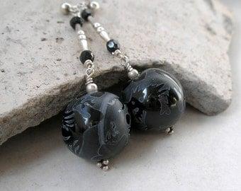 Dragon Phoenix Earrings Black Agate Beaded Gemstone Sterling Silver Chinese Ethnic Symbolic Cosmic Healing Good Luck Earrings