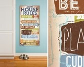 Dog House Rules family rules pet typography artwork on gallery wrapped canvas by Stephen Fowler
