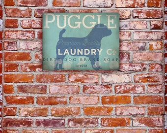 Puggle Laundry Company illustration graphic art on canvas by stephen fowler