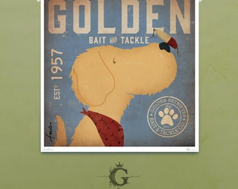 Golden Retriever Bait and Tackle fishing Company  illustration giclee signed artists print by Stephen Fowler