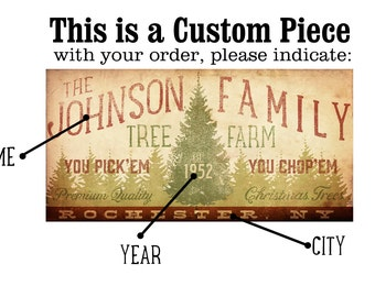 custom art Family Christmas Tree Farm graphic signage illustration giclee signed artists print by Stephen Fowler