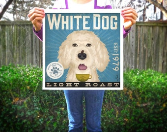 White Dog dog Coffee Company original illustration giclee archival signed artist's print by Stephen Fowler Pick A Size