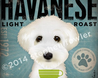 Havanese Coffee Company graphic illustration signed artist's print by Stephen Fowler Pick A Size