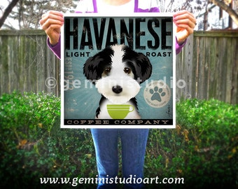 Havanese Coffee Company original graphic illustration giclee archival signed artist's print by Stephen Fowler Pick A Size
