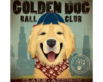 Golden Dog Chicago  golden retriever baseball giclee signed artists print