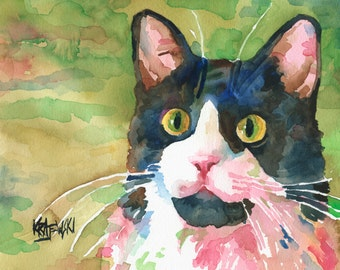 Gray Tuxedo Cat Art Print of Original Watercolor Painting - 8x10